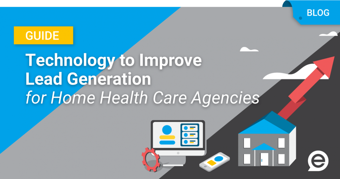 Technology to improve Lead Generation for Home Health Care Agencies image with desktop and smartphone technology and a house with an arrow rising upward